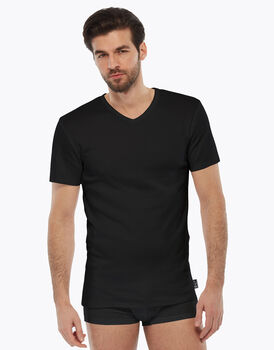 T-shirt manica corta nero in interlock di cotone con scollo a V, , LOVABLE