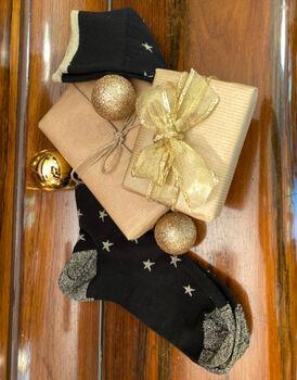 Calza lunga Fancy Allover, nera con stelline oro, , LOVABLE