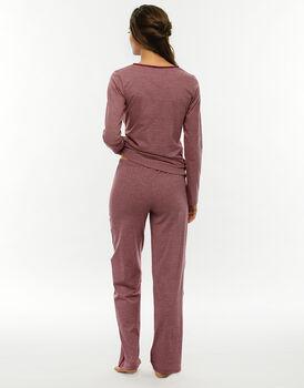 Pigiama manica e gamba lunga aperto malaga in jersey di cotone fil a fil-LOVABLE
