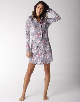 Camicia da notte in cotone e modal, stampa a fiori, , LOVABLE