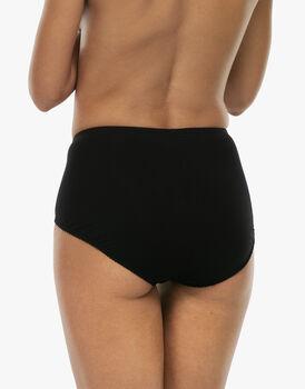 Slip maxi lovely charme, nero in cotone elasticizzato con pizzo, , LOVABLE