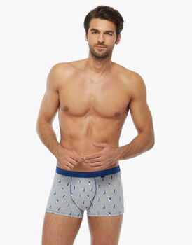 Boxer casual in cotone stretch, grigio con stampe blu, , LOVABLE