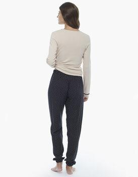 Pigiama manica e gamba lunga, latte, in jersey di cotone con pantalone in viscosa stampata con coulisse, , LOVABLE