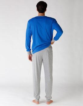 Pigiama uomo manica e gamba lunga, in jersey di cotone, blu brillante stampato, , LOVABLE