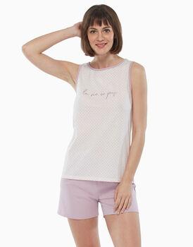 Pigiama smanicato in jersey, pois rosa, , LOVABLE