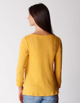 T-shirt manica 3/4 in cotone e lino, ocra, , LOVABLE