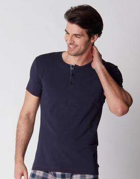 T-shirt serafino blu notte, , LOVABLE