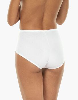 Slip maxi contenitivo Lovely Charme, bianco in cotone elasticizzato con pizzo, , LOVABLE