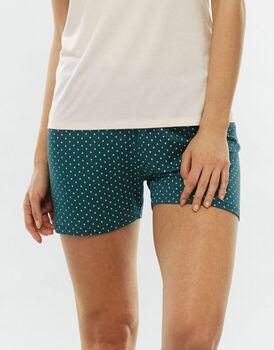 Pantalone gamba corta in viscosa, verde stampato-LOVABLE