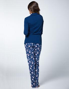 Pigiama pesante in 100% Cotone, blu con pantalone fantasia, , LOVABLE