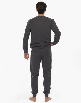 Homewear manica e gamba lunga grigio melange scuro, in felpa calda doppia spazzolatura, scollo a V, , LOVABLE