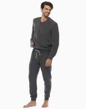 Homewear manica e gamba lunga grigio melange scuro, in felpa calda doppia spazzolatura, scollo a V , , LOVABLE