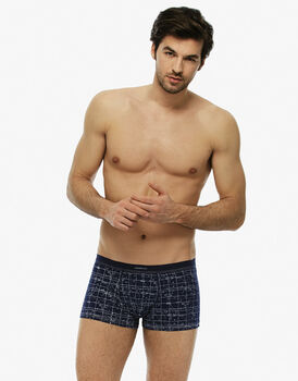 Short boxer blu navy stampato in cotone modal-LOVABLE