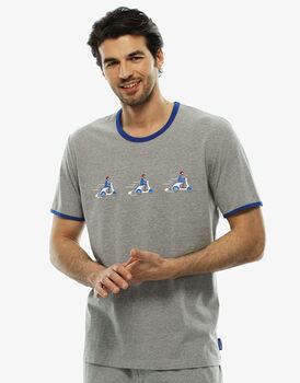 T-shirt girocollo grigio melange stampato in jersey , , LOVABLE
