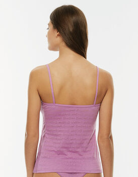 Top rosa devorato in cotone devorato con logo Easy Style-LOVABLE