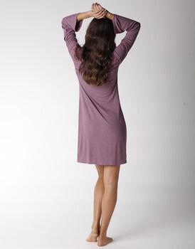 Camicia da notte manica lunga in viscosa elasticizzata, rosa vintage, , LOVABLE