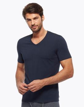 T-Shirt a scollo a V profondo in cotone modal blu marine, , LOVABLE
