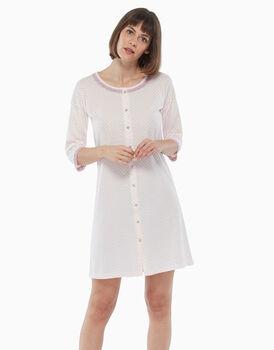 Camicia da notte in jersey di cotone, pois rosa, , LOVABLE