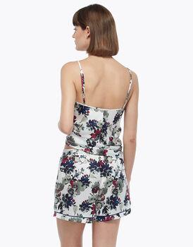 Shorts con elastico in vita e coulisse, stampa fiore, in satin, , LOVABLE