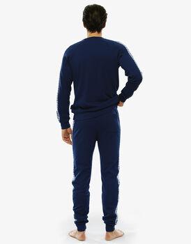 Pigiama manica e gamba lunga blu brillante in cotone interlock con fascia e coulisse in vita-LOVABLE