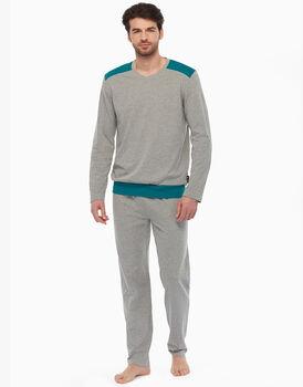 Pigiama in jersey, grigio melange e verde, , LOVABLE