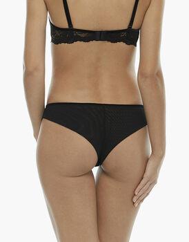 Brasiliano nero, in velluto elastico, pizzo elastico e tulle elastico, , LOVABLE