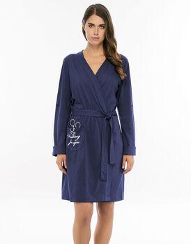 Vestaglia blu navy in cotone e modal con bottone con asola per accorciare la manica-LOVABLE