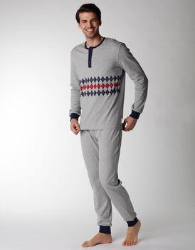 Pigiama uomo lungo in cotone interlock, grigio con stampa geometrica, , LOVABLE