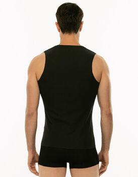 Smanicato Invisible Cotton nero in cotone elasticizzato con scollo a V-LOVABLE