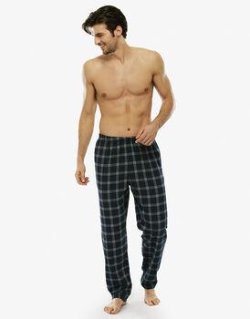 Pantalone lungo verde check in flanella con taschino sul retro-LOVABLE