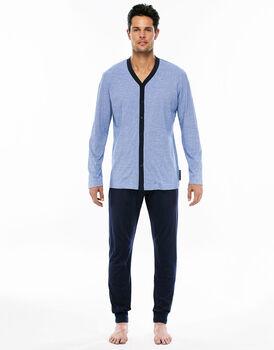 Pigiama manica e gamba lunga azzurro in jersey di cotone aperto-LOVABLE