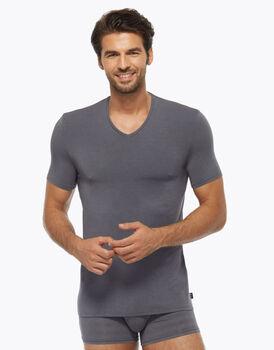 T-shirt Scollo a V in micromodal, grigio scuro, , LOVABLE