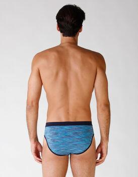 Slip uomo in cotone elasticizzato, blu rigato multicolor, , LOVABLE
