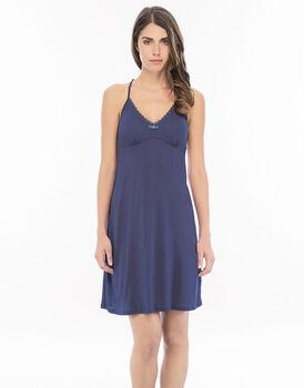 Camicia da notte blu indigo in modal e pizzo con motivo schiena in pizzo-LOVABLE