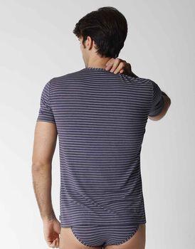 T-shirt uomo manica corta con scollo a V in micromodal, righe blu, , LOVABLE