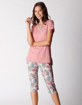 Pigiama manica corta e pinocchietto in jersey di cotone fiammato, rosa polvere, , LOVABLE