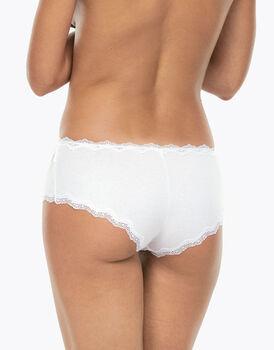 Culotte Lovely bianco in cotone elasticizzato con pizzo-LOVABLE