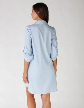 Camicia da notte in cotone e sorona, colore lightblue e white, , LOVABLE