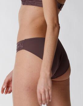 Slip Rephined Lace in pizzo elastico e microfibra, marrone, , LOVABLE