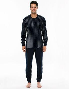 Pigiama manica e gamba lunga blu navy stampato in jersey di cotone con tasca sul retro pantalone-LOVABLE