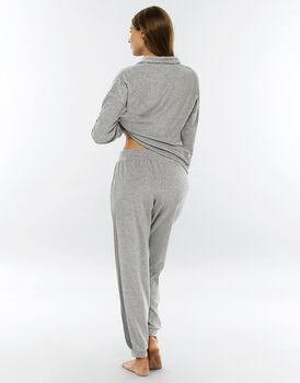Homewear grigio melange in ciniglia, aperto-LOVABLE