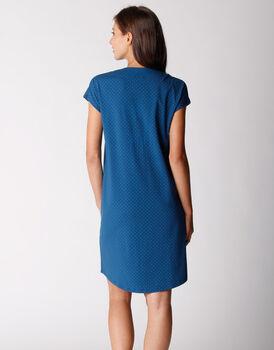 Camicia da notte aperta, mancia corta, in jersey di cotone elasticizzato, blu oltremare, , LOVABLE