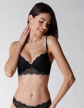 Reggiseno push up Edyn in microfibra e balza pizzo, nero, , LOVABLE