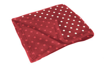 Plaid in pile rosso a pois bianchi-LOVABLE