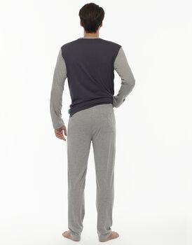 Pigiama manica e gamba lunga grigio scuro in jersey-LOVABLE