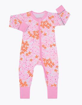 Tutina in cotone elasticizzato, stampa stelle rosa, , LOVABLE