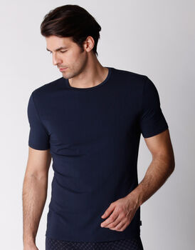 T-shirt Girocollo in cotone modal, blu navy, , LOVABLE
