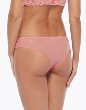 Brasiliano in pizzo e tulle, coral pink, , LOVABLE