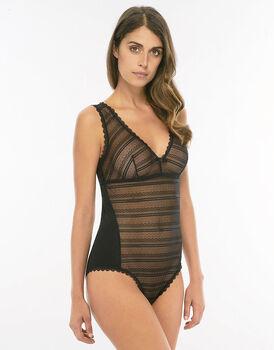 Body coppe senza imbottitura nero pizzo elastico e tulle-LOVABLE