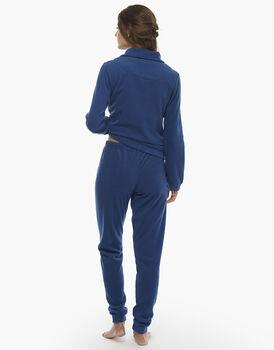 Homewear manica e gamba lunga bluette in pile, , LOVABLE